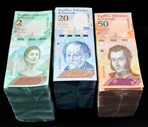 2018 Venezuela $2, $20 & $50 Bolivares 3 Bricks New 3000 Pc Unc Rare Set SKU418