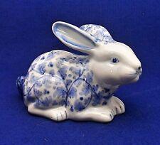 Rabbit / Bunny Porcelain Bank w/ Stopper - Blue & White - Andrea by Sadek