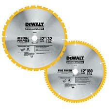DEWALT 12 Inch Carbide Wood Circular Saw Blade Table Miter Cutting 2 Pack Blades