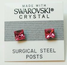 6mm Pink Crystal SQUARE Medium Stud Earrings Made with SWAROVSKI ELEMENTS Gift