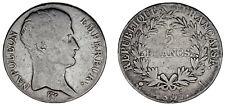5 FRANCS - 5 FRANCOS. BAYONNE. FRANCE / FRANCIA. Ag. NAPOLEÓN I. 1807 L. VF/MBC.