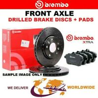 BREMBO XTRA Drilled Front BRAKE DISCS + PADS for VW POLO Van 1.4 TSI 2014->on