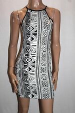 ICE Designer Black White Aztec High Neck Bodycon Midi Dress Size L BNWT #TF59