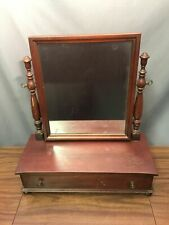 Solid Mahogany Antique Wood Tabletop Mirror Mens Shaving Vanity Drawer Made USA