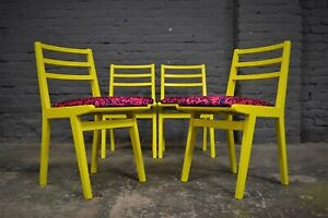 4x Vintage Mid Century G Plan Dining Chairs in Yellow with Pink Velvet