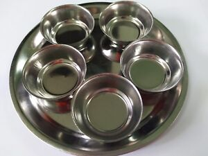 5-Bowl-1 Tray-Thai-Food-Worship-Altar-Amulet-Home-Mini-Stainless-Steel-Silver