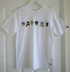 Vans X Marvel White Short Sleeve Custom Fit Skater T-Shirt Size Youth XL Age 14Y