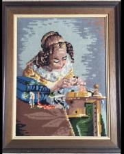 Antiguo Gobelin imagen. mujer joven .48x38 cm.