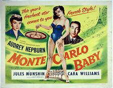 "MONTE CARLO BABY 1953 HALF SHEET 22"" X 28"" POSTER Audrey Hepburn ROLLED UNFOLDED"