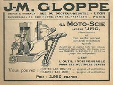 Publicité 1926 MOTO SCIE GLOPPE bois wood menuiserie  réclame