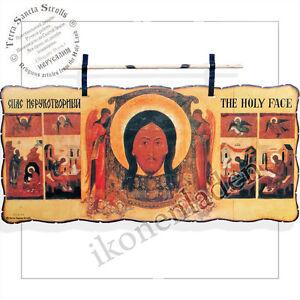 Holy Land Pergament Jesus Acheiropoieton Wachsschicht handarbeit echt leder 14*6