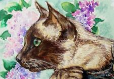 Siamese Cat  Kitten Flowers  O/E Print   ACEO by Vicki