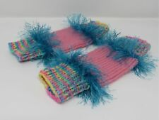 Handcrafted Knitted Legwarmers Pink/Teal Fuzzy Female Kids 0-1 Striped