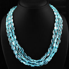 TOP AWESOME 445.00 CTS NATURAL 3 LINE RICH BLUE AQUAMARINE OVAL BEADS NECKLACE