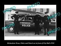 OLD LARGE HISTORIC PHOTO OF RICHARDSON TEXAS, THE POLICE & PATROL CARS c1950