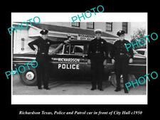 OLD LARGE HISTORIC PHOTO OF RICHARDSON TEXAS THE POLICE & PATROL CARS c1950