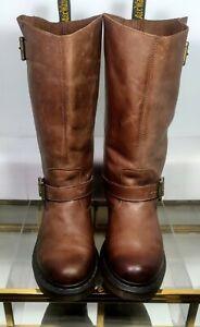 Dr. Marten Rowena Two Buckle Chunky Heeled Engineer Boot  Women US 8  Brown