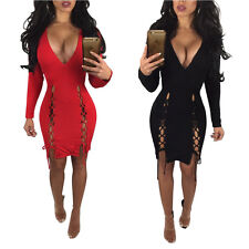 Abito aperto Nudo scollo Spacco Aderente Lacci Ballo Party Lace Up Slits Dress S