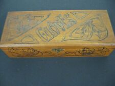 Antique Vintage Flemish Art Co. Pyrography Carved Wooden Glove box Trinket Box