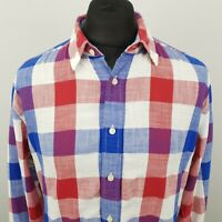 Tommy Hilfiger Mens Shirt LARGE Long Sleeve Red Regular Fit Check Cotton