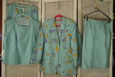ANTONETTE Vintage 4-Piece Silk Outfit UK16/EU42 Franz Haushofer Ice Blue Floral