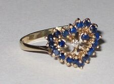 *WOW! SALE* 14K Gold Natural Blue Sapphire & Diamond Heart Ring 2.5 Grams Sz 6