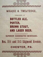 1895 Walker & Tweltridge Brewery Chester Pennsylvania Vintage Print Ad