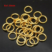 100pcs Gold Plated Stainless Steel Open Jump Rings 6x1.0mm