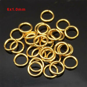 200pcs Gold Plated Stainless Steel Open Jump Rings 6x1.0mm