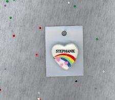 Rainbow & Hearts Fashion Pin Brooch Personalized STEPHANIE - Stocking Stuffer