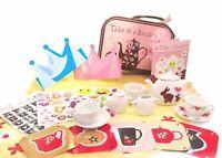 Kids Pretend Play Picnic Tea Set with Box 13 pieces Light Brown NEW