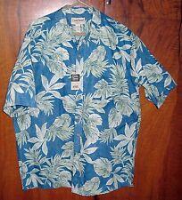NEW W/TAGS COOKE ST HONOLULU HAWAIIAN BLUE GREEN PALM FROND TRIBAL SHIRT XL