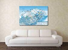 Meribel Ski MAP - 30x20 pollici Canvas-Snowboard Foto Incorniciata Alpi francesi