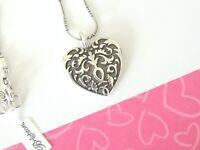 Brighton CORDOBA HEART Reversible Swirls Scroll Silver Pendant Necklace new tags