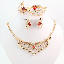 Gold Plated Red Crystal Gem Rhinestone Wing 4 Piece Jewelry Set
