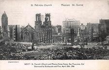 Postcard St Patricks Church Mission Street Scene San Fransisco 1906 Earthquake