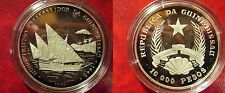 1991 Guinea Bissau Large Silver Proof 10000 Pesos-Sailing Ship NunoTristao 1446