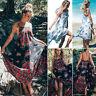 Women Bohemian Floral Long Maxi Dress Summer Beach Party Casual Loose Sundress
