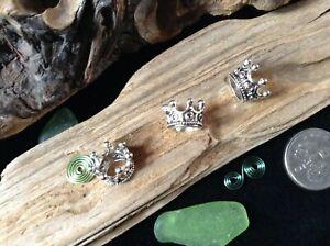 3 x Silver Tone Crown Dreadlock Beads 5-5mm Hole Cute Dreads Braids Stunning UK