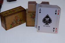 Vintage  Set Hend made Wooden Deck for Cards Deck Cards Bulgaria 1970s.