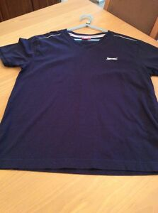 boys clothes 11-12 years Slazenger Navy Blue Cotton Short Sleeved Top T-Shirt