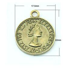 Paket 10 x Steampunk Bronze Tibetanische 22mm Münze Charme/Anhänger ZX08985