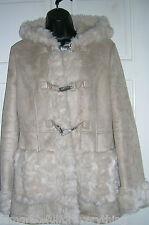 TopShop beige en fausse peau de Mouton Shearling Capuche Duffle-coat UK 12 EUR 40 US 8