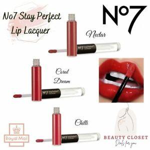 No7 Stay Perfect Lip Lacquer Lipgloss Brand NEW Sealed Gloss (Various Shades) UK