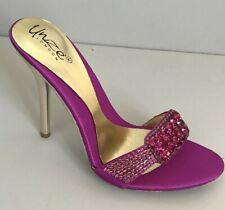 Unze Damas Niñas Tacón Alto Nupcial Noche Púrpura Diamante Punta Abierta Zapatos Talla 4
