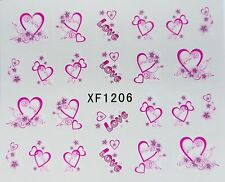 "Valentines Shimmer 3D Nail Art Sticker ""LOVE Hearts"" Pink Nail Water Decals 1206"