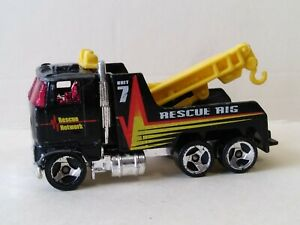 💥HOT WHEELS UNIT 7 RESCUE RIG BLACK 1/64 DIECAST TOW TRUCK