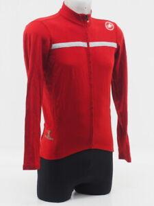 Castelli Men's Wool Long Sleeve Cycling Jersey Red Size Medium Full Zip