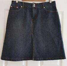 Ladies Size 12 Dark Blue Pleated Denim Skirt - Rivers