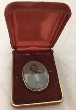 ANTIQUE DOUBLE SIDED BEVELED GLASS DAGUERREOTYPE MOURNING ? BROOCH PIN W/ PHOTOS